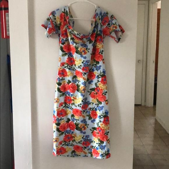 Bisou Bisou Dresses & Skirts - Bright Floral Off Shoulder Bodycon Dress - 14
